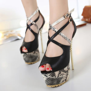 a83e13f2ae18 Round Peep Toe Snakeskin Grain Patchwork Stiletto Super High Heel Black Ankle  Strap Pumps