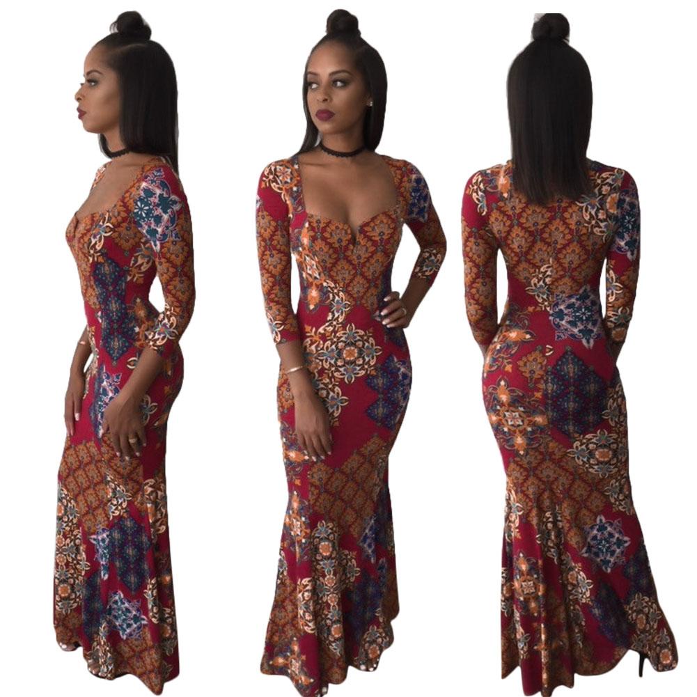 5f43a1ece7ce African Floral Print Long Sleeve Evening Dress - 2mpresz