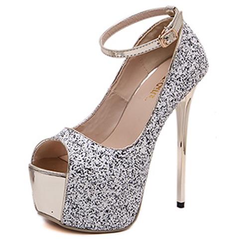 5c3c79fa697c Round Peep Toe Platform Stiletto Super High Heel White Suede Ankle Strap  Pumps