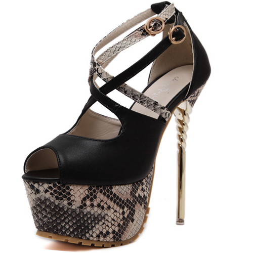 0c88fa571984  39.99  37.99. Round Peep Toe Snakeskin Grain Patchwork Stiletto Super High  Heel Black Ankle Strap Pumps. Quantity